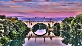 roma,nehir,şehir,köprü,hdr