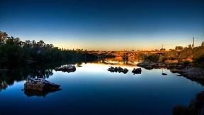 göl,köprü,günbatımı,gökyüzü