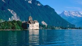 göl,doğa,dağ,ağaç,manastır