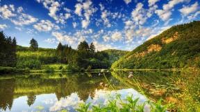 göl,gökyüzü,doğa,ağaç