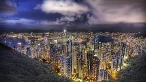 hong kong,şehir,akşam,bina