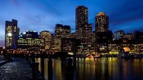 new york,şehir,bina,akşam,nehir