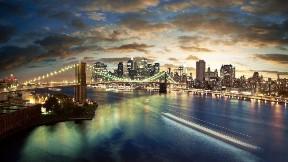 new york,şehir,köprü,günbatımı