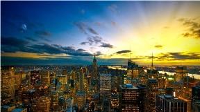 new york,şehir,bina,günbatımı