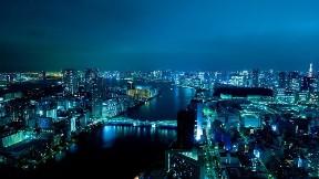 tokyo,şehir,akşam,nehir,bina