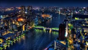 tokyo,akşam,şehir,bina,nehir