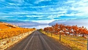 lavaux,hdr,dağ,gökyüzü,göl,güneş,yol