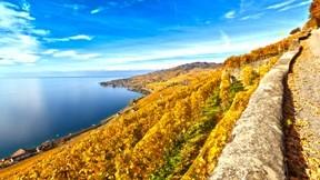 lavaux,hdr,dağ,gökyüzü,göl,güneş,bulut