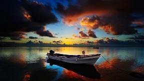 deniz,hdr,günbatımı,tekne,gökyüzü