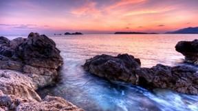 günbatımı,doğa,deniz,taş,gökyüzü