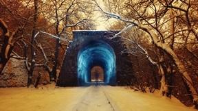 kar,kış,orman,trenyolu,tünel