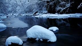 akarsu,kış,orman,kar