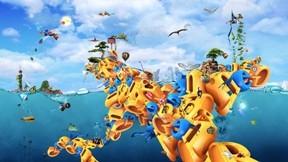 deniz,soyut,3d,harf,gökyüzü,kuş,balık
