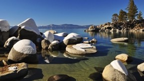göl,taş,kar,doğa
