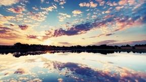 göl,doğa,gökyüzü,günbatımı,ağaç