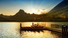 günbatımı,göl,iskele,gökyüzü,doğa,tekne