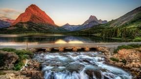 günbatımı,park,köprü,dağ,doğa