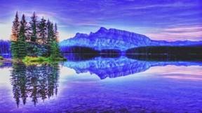 hdr,göl,doğa,ağaç,gökyüzü