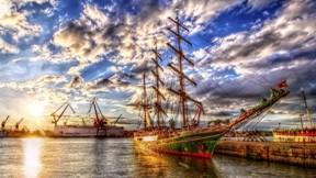hdr,gemi,yelkenli,deniz,liman,güneş