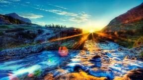 hdr,doğa,günbatımı,nehir,gökyüzü
