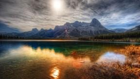 hdr,göl,manzara,gökyüzü,güneş