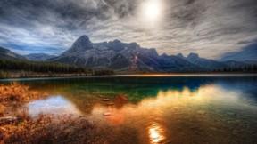 hdr,doğa,göl,güneş,dağ,orman