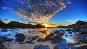 hdr,doğa,sahil,deniz,bulut,kayalık