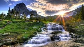 doğa,hdr,günbatımı,çimen,nehir,ağaç,dağ