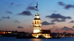kız kulesi,istanbul,deniz,gece,gökyüzü