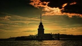 istanbul,kız kulesi,deniz,gece,bulut