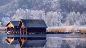 kış,göl,ev,doğa,orman