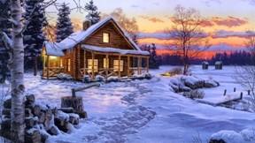 ev,ağaç,gece,kış,kar,soyut