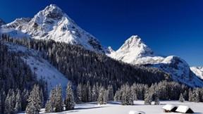 dağ,kış,orman,kar,gökyüzü