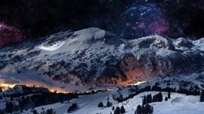 kış,gökyüzü,yıldız,kar,dağ,orman,doğa