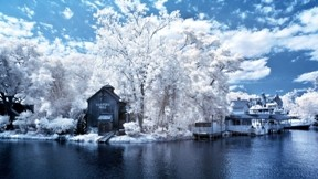 kış,kasaba,nehir,gökyüzü,bulut,ev