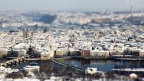 prag,kış,kar,nehir,şehir
