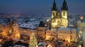 prag,kış,kar,gece