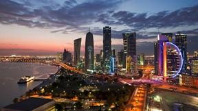 doha,katar,şehir,deniz,gece