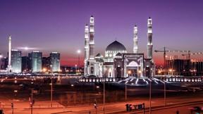hazret sultan,cami,astana,kazakistan,gece