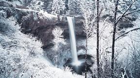 kış,kar,şelale,orman