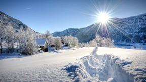 kış,kar,ev,güneş,ağaç