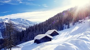 kış,dağ,ev,kar,güneş,orman,gökyüzü