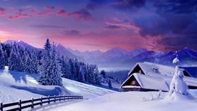 kış,orman,dağ,kar,manzara,ev