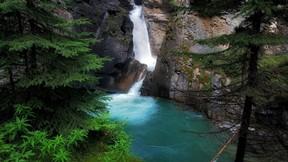 doğa,şelale,kayalık,orman