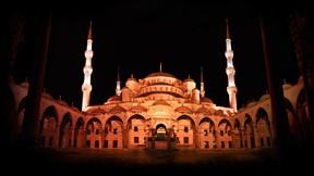 sultan ahmet cami,gece,avlu