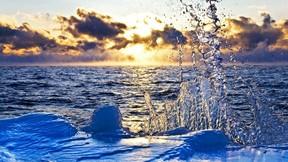 baykal gölü,rusya,göl,su,günbatımı,buz