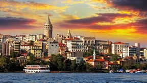 galata kulesi,istanbul,türkiye,şehir,günbatımı,deniz