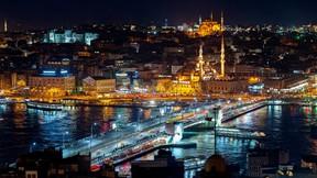 galata köprüsü,istanbul,türkiye,şehir,gece,deniz,köprü,yeni cami