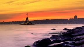 kız kulesi,istanbul,deniz,günbatımı