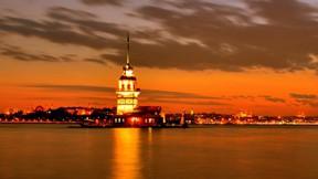 kız kulesi,istanbul,deniz,gece